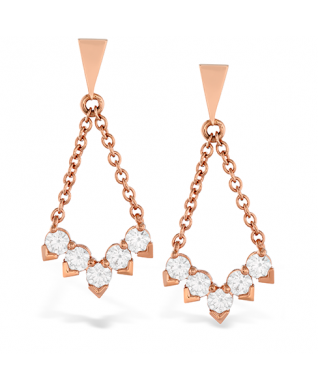 Aerial Diamond V Drop Earrings