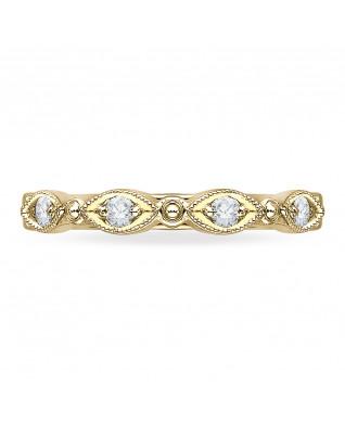 Carizza - 18K Yellow Gold 1/5 Ct Diamond Wedding Band