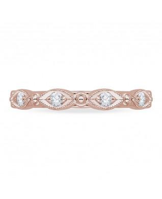 Carizza - 18K Pink Gold 1/5 Ct Diamond Wedding Band