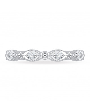 Carizza - 18K White Gold 1/5 Ct Diamond Wedding Band