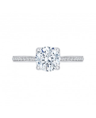 Carizza - 18K White Gold 1/4 Ct Diamond Semi Mount Engagement Ring fit Round Center