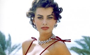Sophia Loren wearing diamonds