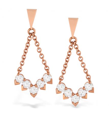 Aerial Diamond V Drop Earrings