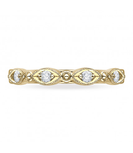 Carizza - 18K Yellow Gold 1/5 Ct Diamond Wedding Band