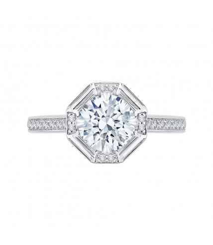 Carizza - 18K White Gold 1/5 Ct Diamond Semi Mount Engagement Ring fit Round Center