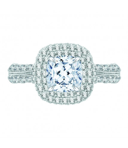 Carizza - 18K White Gold 1 3/4 Ct Diamond Semi Mount Engagement Ring to fit Cushion Center