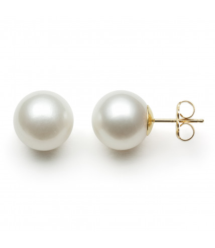 14KT YG WHITE SOUTH SEA 10-11MM EARRINGS