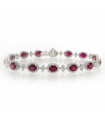 OVAL RUBY WITH DIAMOND BRACELET
