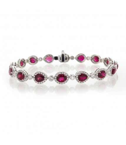 OVAL & PEAR SHAPE RUBY WITH DIAMOND BRACELET