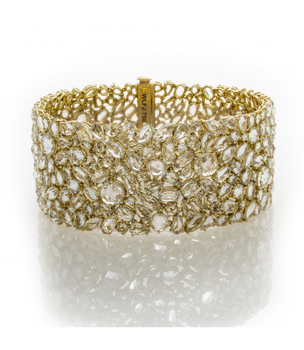 WHITE SAPPHIRES YELLOW GOLD BRACELET