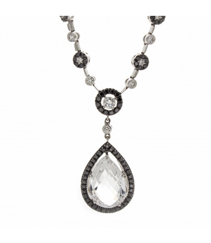 BLACK & WHITE CRYSTAL AND DIAMOND NECKLACE
