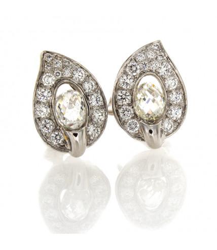 PLATINUM & DIAMOND LEAF EARRINGS