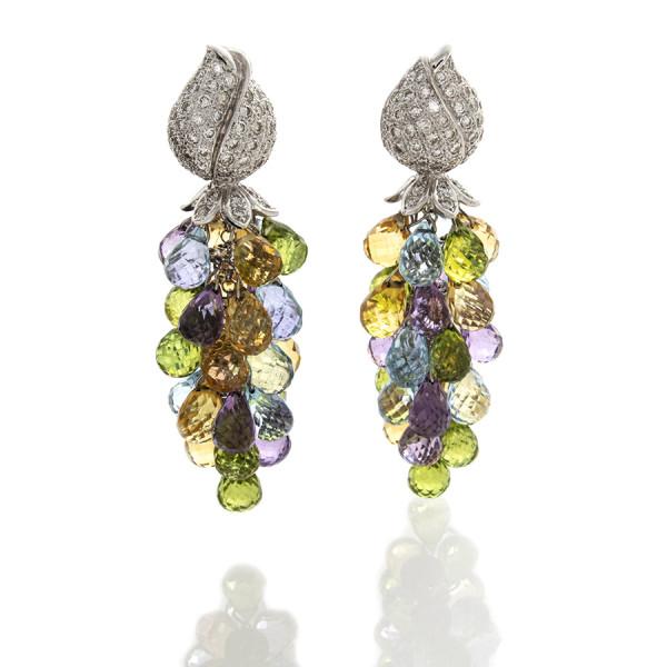 Semi Precious Briollette Earrings