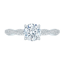 Carizza - 18K White Gold 1/4 Ct Diamond Semi Mount Engagement Ring to fit Round Center