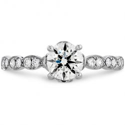 Lorelei Floral Engagement Ring-Diamond Band