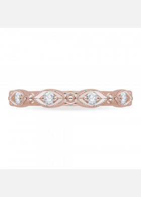 Carizza - 18K Pink Gold 1/5 Ct Diamond Wedding Band