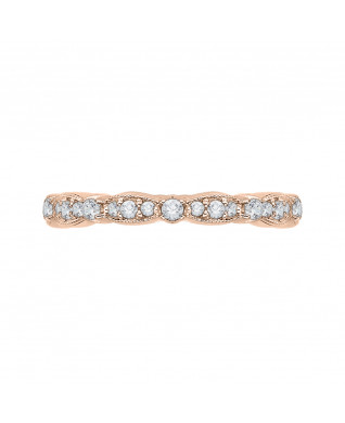 Carizza - 18K Pink Gold 1/2 Ct Diamond Wedding Band