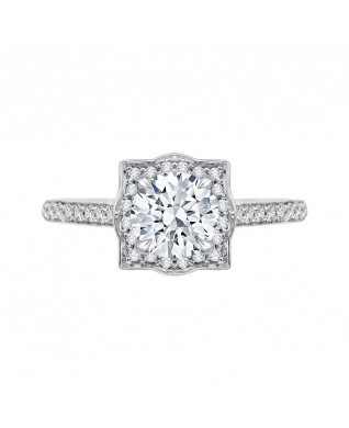 Carizza - 18K White Gold 1/3 Ct Diamond Semi Mount Engagement Ring to fit Round Center