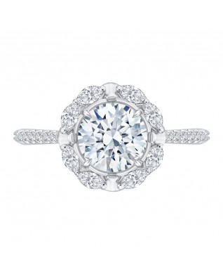 Carizza - 18K White Gold 1/2 Ct Diamond Semi Mount Engagement Ring fit Round Center