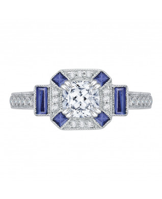 Carizza - 18K White Gold 1/5 Ct Diamond and 3/8 ct. Saphhire Semi Mount Engagement Ring to fit Cushion Center