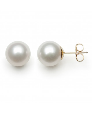 14KT YG FRESHWATER PEARL 9-10MM EARRINGS