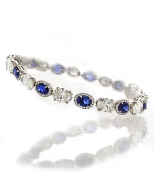 Oval Sapphire & Diamond Bracelet
