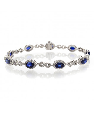 BLUE SHAPHIRE  AND DIAMOND BRACELET