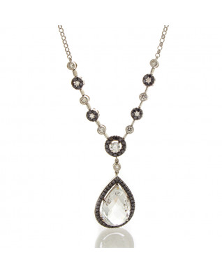 CRYSTAL AND DIAMOND NECKLACE