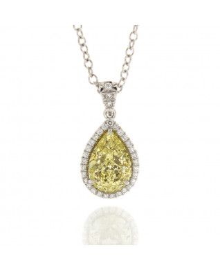 FANCY YELLOW PEAR SHAPE DIAMOND 1.51 CT