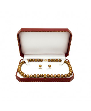14KT YG CARAMEL FWP NECKLACE AND STUD SET